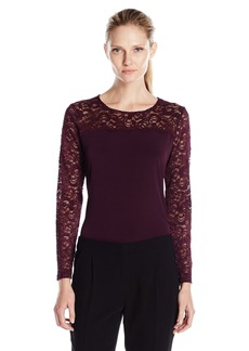 Calvin Klein Women's Long Sleeve Top with Lace Yoke and Sleeves