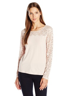 Calvin Klein Women's Long Sleeve Top with Lace Yoke and Sleeves  Large
