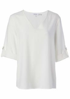 Calvin Klein Women's Long Sleeve V Neck Blouse