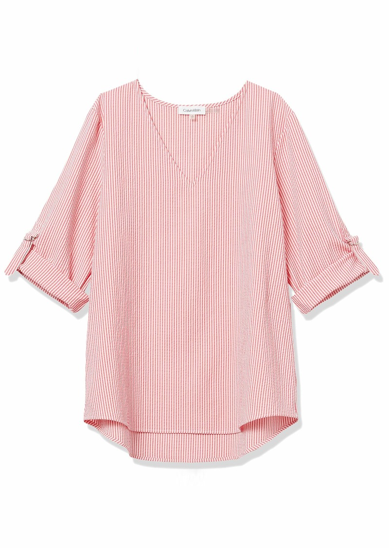 Calvin Klein Women's Long Sleeve V Neck Blouse