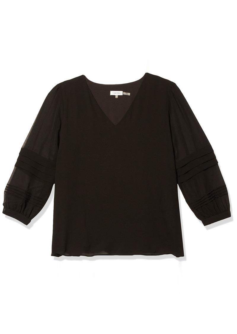 Calvin Klein Women's Long Sleeve V Neck Blouse  Extra Large