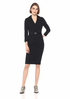 Calvin Klein Women's Long Sleeve V Neck Collared Sheath with Belt Dress