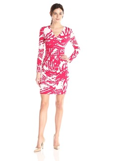 Calvin Klein Women's Long Sleeve V Neck Printed Side Ruched Dress