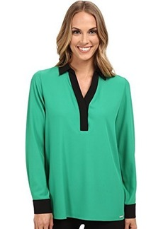 Calvin Klein Women's Long Sleeve with Contrast Collar and Cuff  X-Small