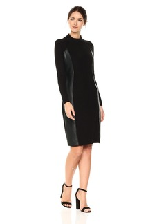 Calvin Klein Women's Long Sleeved Ribbed Sweater Dress Black XL