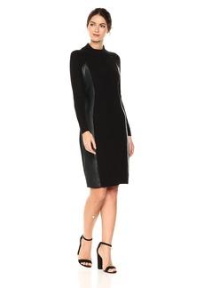 Calvin Klein Women's Long Sleeved Ribbed Sweater Dress Black XL