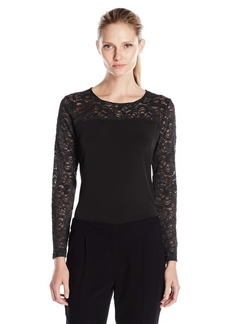 Calvin Klein Women's Long Top With Lace Yoke and Sleeves