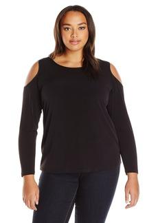 Calvin Klein Women's L/s Cold Shoulder Top  L