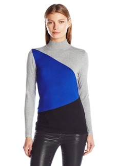 Calvin Klein Women's L/s Colorblock Sweater  XL