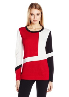 Calvin Klein Women's L/s Colorblocked Sweater  XL