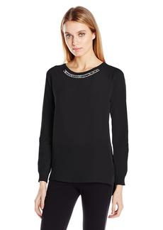 Calvin Klein Women's L/s Embellished Neck Sweater  XL