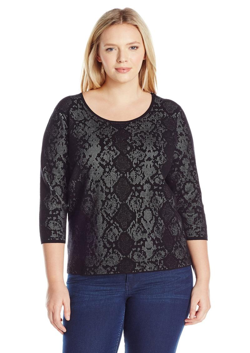 Calvin Klein Women's L/s Sweater W/ Snake Detail  L