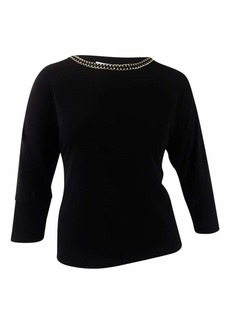 Calvin Klein Women's L/s Top with Gold Chain