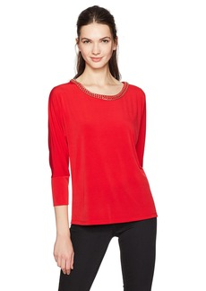 Calvin Klein Women's L/s Top with Gold Chain  S