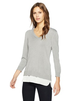 Calvin Klein Women's Lurex 2fer Sweater  L