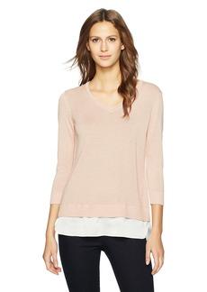 Calvin Klein Women's Lurex 2fer Sweater  M