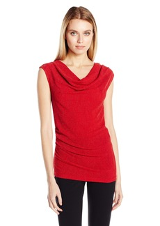 Calvin Klein Women's Lurex Cowl Neck Top  M