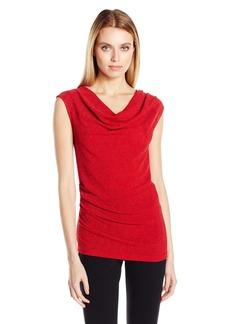 Calvin Klein Women's Lurex Cowl Neck Top  XL