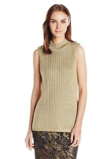 Calvin Klein Women's Lurex Mock Neck Sweater  M