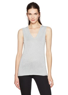 Calvin Klein Women's Lurex V-Neck Shell  L