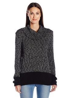 Calvin Klein Women's Marled Blocked Cowl Sweater  Large