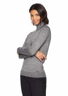 Calvin Klein Women's Marled Turtleneck Black/WNTRWHT Combo M