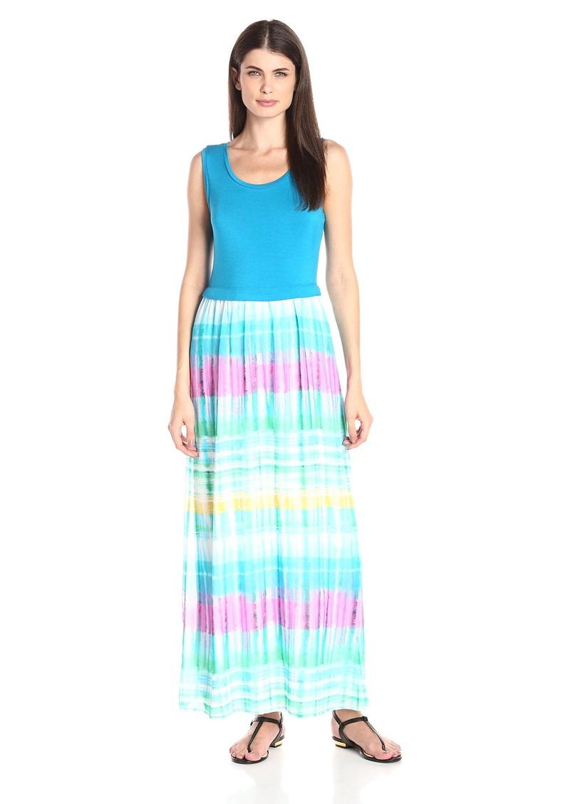Calvin Klein Women's Maxi Dress with Chiffon Bottom Grass Combo Cksp