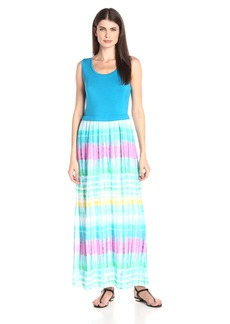 Calvin Klein Women's Maxi Dress With Chiffon Bottom  Medium
