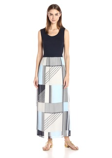 Calvin Klein Women's Maxi Dress With Chiffon Bottom  M