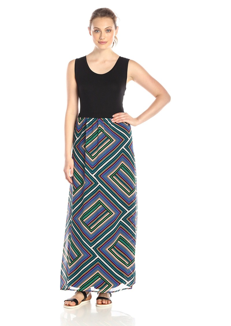 Calvin Klein Women's Maxi Dress with Print Chiffon Bottom