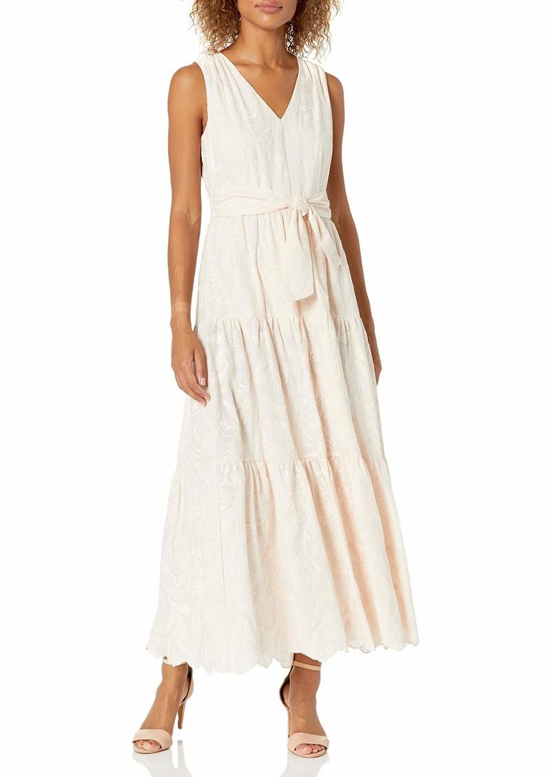 Calvin Klein Women's Maxi Dress with Tiered Flounce Skirt