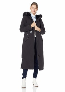 Calvin Klein Women's Maxi Length Soft Shell with Faux Fur Trimmed Hood and Removable Belt  L