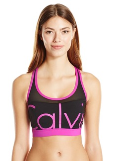 Calvin Klein Women's Mesh Insert Sports Bra Bikini Top with Binding and Removable Soft Cup  M