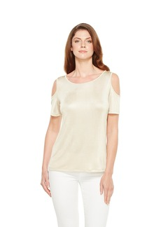 Calvin Klein Women's Metallic Cold Shoulder Top  XS