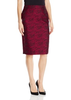 Calvin Klein Women's Metallic Pencil Skirt Red BLK/Rge