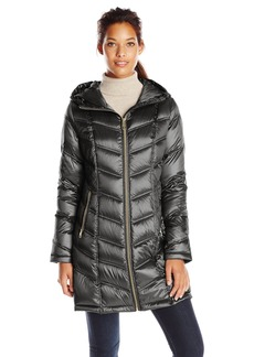 Calvin Klein Women's Mid Length Packable Chevron Down Coat