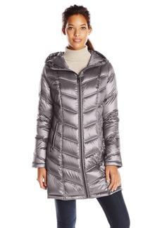 Calvin Klein Women's Mid-Length Packable Chevron Down Coat