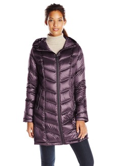 Calvin Klein Women's Mid Length Packable Chevron Down Coat Metallic Mulberry