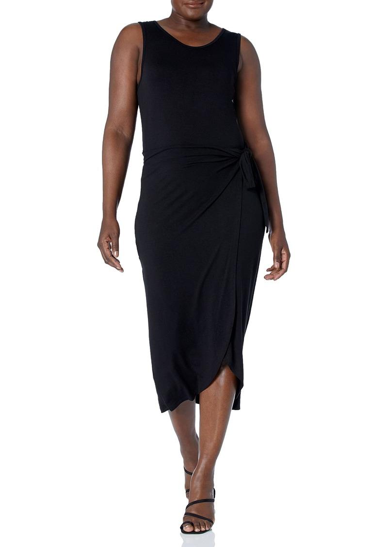 Calvin Klein Women's Midi Sheath Dress with Wrap Skirt