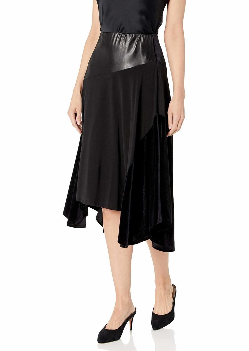 Calvin Klein Women's MIDI Skirt with Faux Leather black