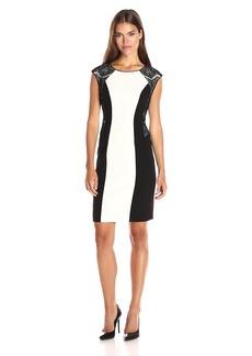 Calvin Klein Women's Mix Media Cap Sleeve Sheath Dress
