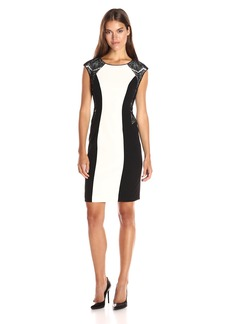 Calvin Klein Women's Mix Media Cap Sleeve Sheath Dress