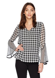 Calvin Klein Women's Mixed Gingham Flare Sleeve Blouse  M