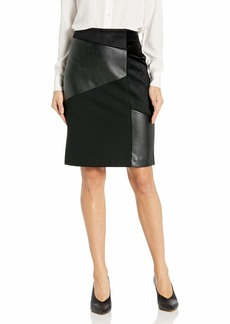 Calvin Klein Women's Mixed Media Pencil Skirt black