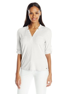 Calvin Klein Women's Mixed Media Roll Sleeve Top