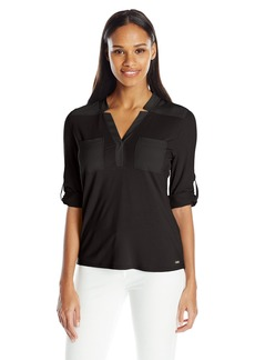 Calvin Klein Women's Mixed Media Roll-Sleeve Top