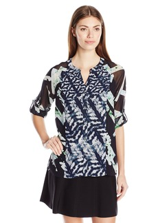 Calvin Klein Women's Mixed-Print Roll-Sleeve Blouse