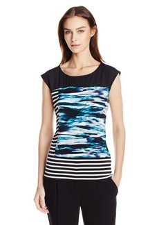 Calvin Klein Women's Mixed Print Top Cypress/Blk CKSP L