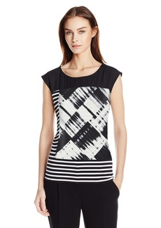Calvin Klein Women's Mixed Print Top Blk/WHT Gss CKSP XL