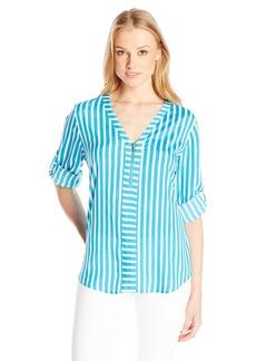 Calvin Klein Women's Mixed Stripe Zip Front Blouse Adriatic/SFT WT Cksp XL